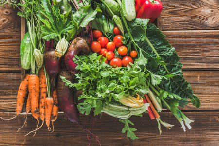 Bio food. Garden produce and harvested vegetable. Fresh farm vegetables in the box. Carrots, beets, tomato, arugula.