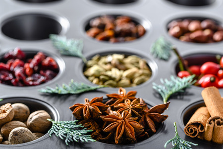 Traditional winter spice for baking. Christmas spices - cinnamon, anise, nutmeg. Stock Photo