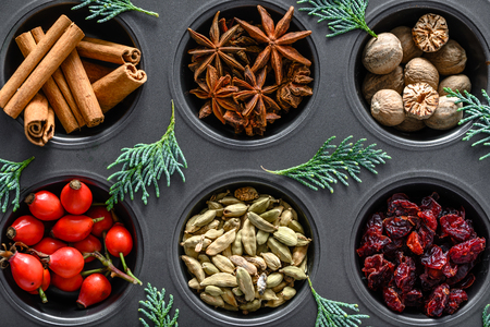 Christmas spices for baking, food background, top view, flat lay