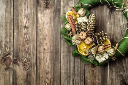 Christmas wooden background with wreath, advent decoration Stock Photo