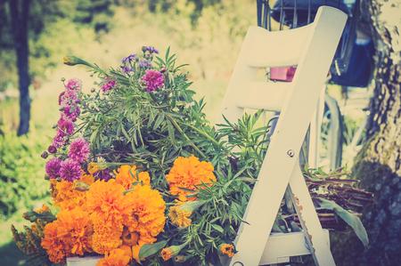 Autumn flowers bouquet on a blurry garden background, vintage photo.