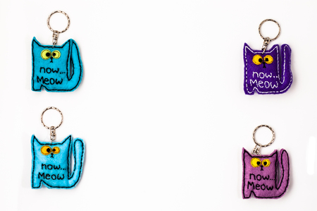Cats key rings isolated on white background Stock Photo