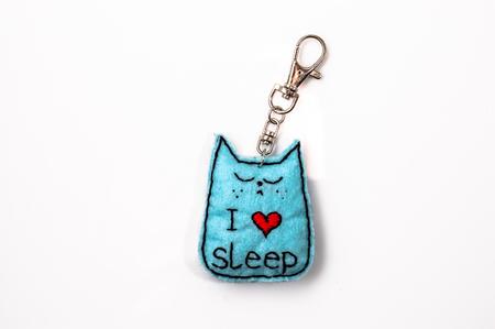 Felt Keychain in shape kitten. Handmade jewelry.