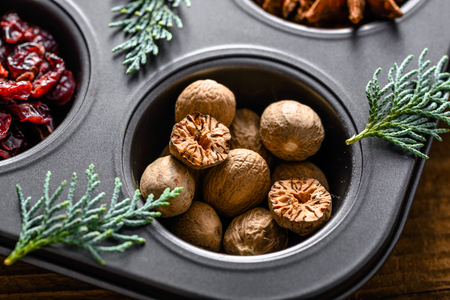 Nutmeg, spice for christmas, baking and cooking ingredient
