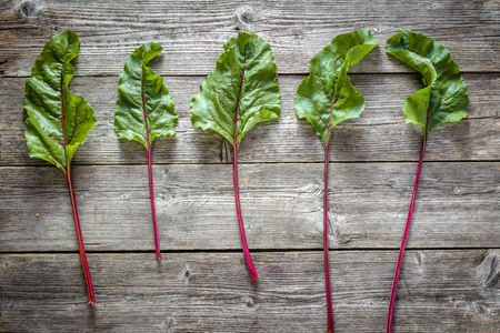 Green leaves of beet. Farm fresh vegetables on wooden background.
