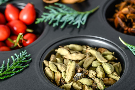 Christmas spices - fresh green cardamom pods, indian spice