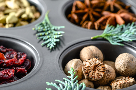 Christmas spices - nutmeg, closeup
