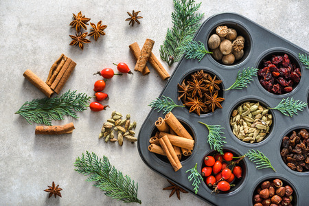Background with spice, christmas decoration with spices, baking concept 写真素材