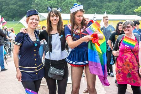 Gdansk, Poland - May 21, 2016: Equality March in Gdansk to support LGBT rights. Parade of gays and lesbians with a rainbow flag. Event dedicated to LGBT community. Editorial