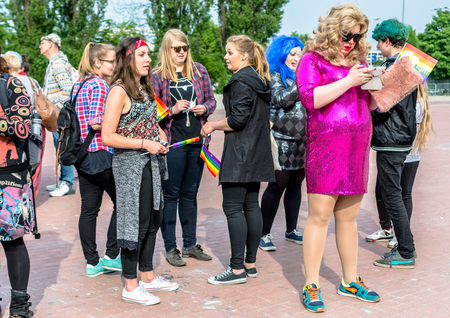 Gdansk, Poland - May 21, 2016: Equality March in Gdansk to support LGBT rights. Parade of lesbian, transvestite and gay. Event dedicated to LGBT community.