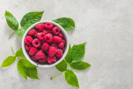 Fresh raspberry fruit, red raspberries, top view Reklamní fotografie
