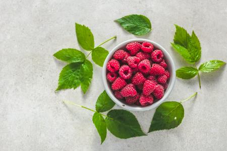 Fresh raspberry, top view