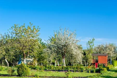 Drewniana szopa lub domek dla dzieci w ogrodzie wśród kwitnących wiosną drzew