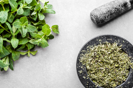 Dry mint in a mortar and fresh mint leaves on white background.