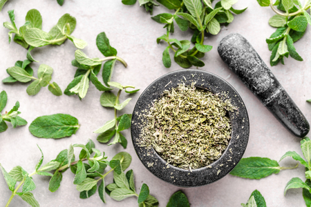 Making of natural herbal tea with mint leaves and dried mint, top view
