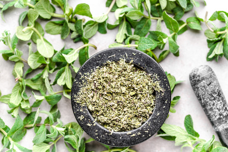 Green herb of fresh mint, leaves and dried mint tea, top view