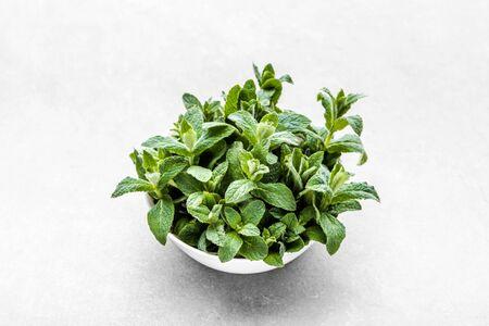 Green organic peppermint. Fresh mint leaves on white background. Banco de Imagens - 124574432