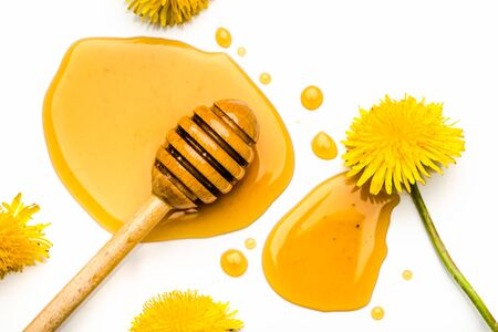 Dandelion honey drop and dipper with honey isolated on white background.