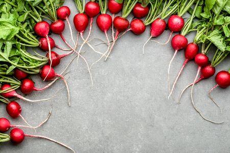 Fresh radish, freshly harvested vegetables, top view