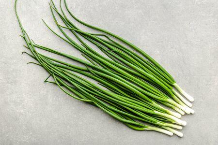Bunch of fresh green onion, top view
