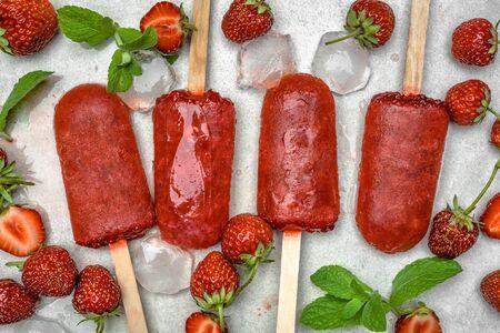 Fruit strawberry sorbet with blended and frozen strawberries Reklamní fotografie