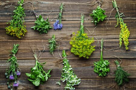 Bunches of herbs from the garden on wooden background. Fresh herb collection.