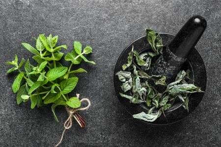 Green herbs. Fresh mint leaves or peppermint and dry mint in mortar, top view Reklamní fotografie