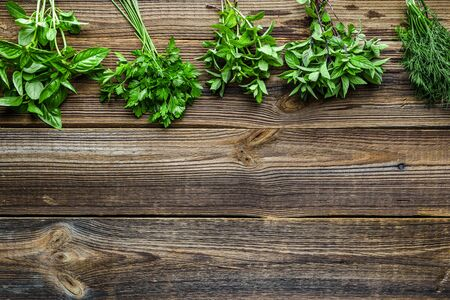 Bunches of fresh herbs from the garden. Mint, dill, parsley and basil herb, background with copy space.