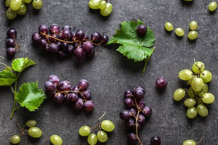 Fresh grape variety. Red and green grapes, top view