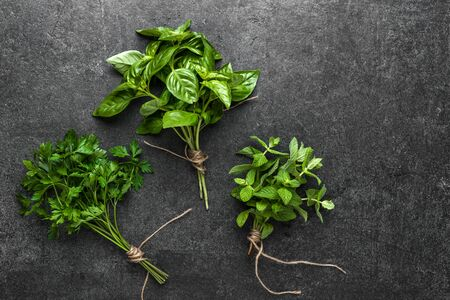 Fresh herbs bunch on dark background
