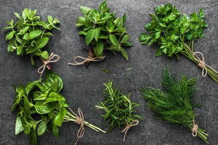 Bunch of herbs from the garden. Basil, rosemary, dill and mint herb on dark background.