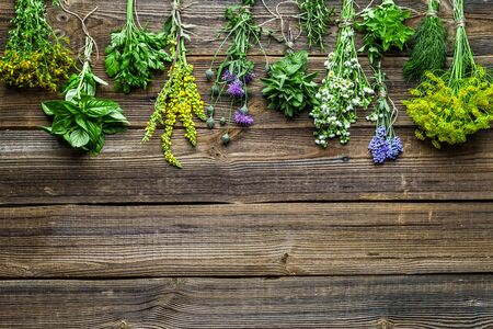 Garden herbs, freshly harvested bunch on wooden table