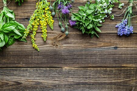 Bunch of garden fresh herbs on wooden background, top view Banco de Imagens