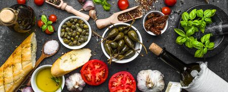 Ingredients for mediterranean food on black background