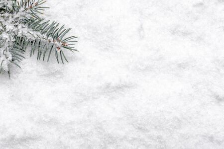 Christmas white background with snow and christmas fir tree branch, flat lay, top view Banco de Imagens - 133903426