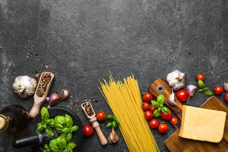 Fresh ingredients of spaghetti, italian food background