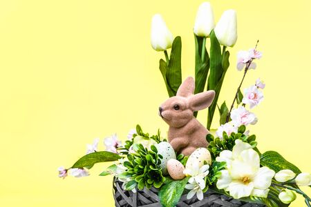Bunny in decoration with eggs. Easter holiday postcard. Stock fotó