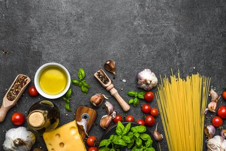 Fresh ingredients of spaghetti bolognese, italian food background