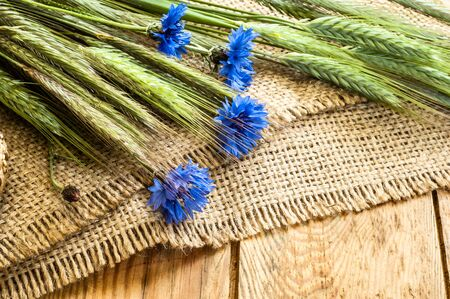 Blue flowers cornflowers and ears of cereal harvested on field on rustic background.