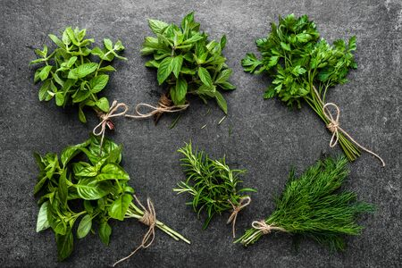 Collection of herbs, bunches of freshly harvested green herbs from the garden on dark background