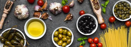 Mediterranean food ingredients or italian diet background