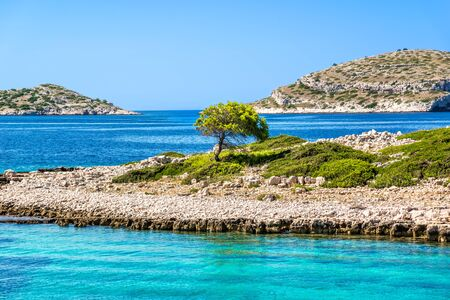 Scenic view of islands in the sea. Mediterranean island beach with rocks and lonely tree. Vacation travel destination, Archipelago Kornati, Dalmatia, Croatia, Europe.