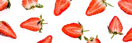 Food banner with fresh strawberry, pattern with fruits - sliced strawberries on white background. Banco de Imagens