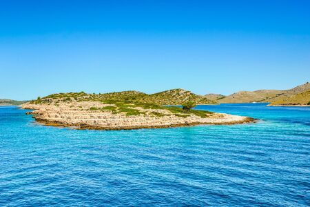 Beautiful seascape bay of Mediterranean Sea, landscape with islands in the sea, Croatia. Vacation travel destination.