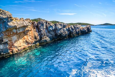 Beautiful landscape of Mediterranean Sea, rocks and islands in the sea, Croatia. Vacation travel destination.