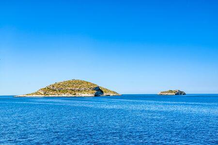 Landscape of Mediterranean Sea, panoramic view of island in the sea, Croatia, Islands of Archipelago Kornati.