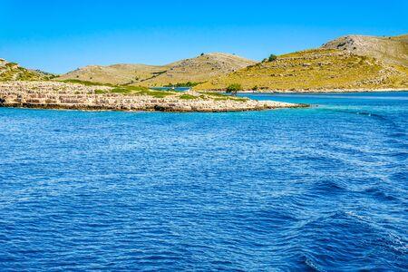 Croatian coast, sea and rocky beach, Croatia. Vacation and travel concept. Mediterranean landscape. Stock fotó