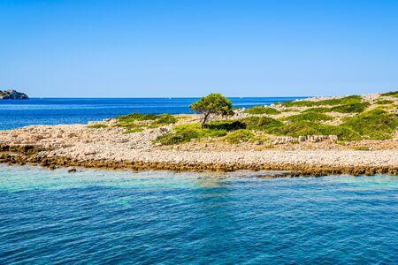 Croatian rocky island beach, Croatia, vacation travel concept.