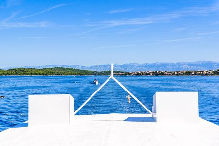 Cruise boat - deck, wooden front of the yacht sailing on sea near coast of Zadar, Croatia, Dalmatia Stock fotó