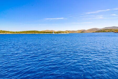 Croatian coast. Mediterranean landscape with blue sky and Sea, Croatia, vacation travel concept.